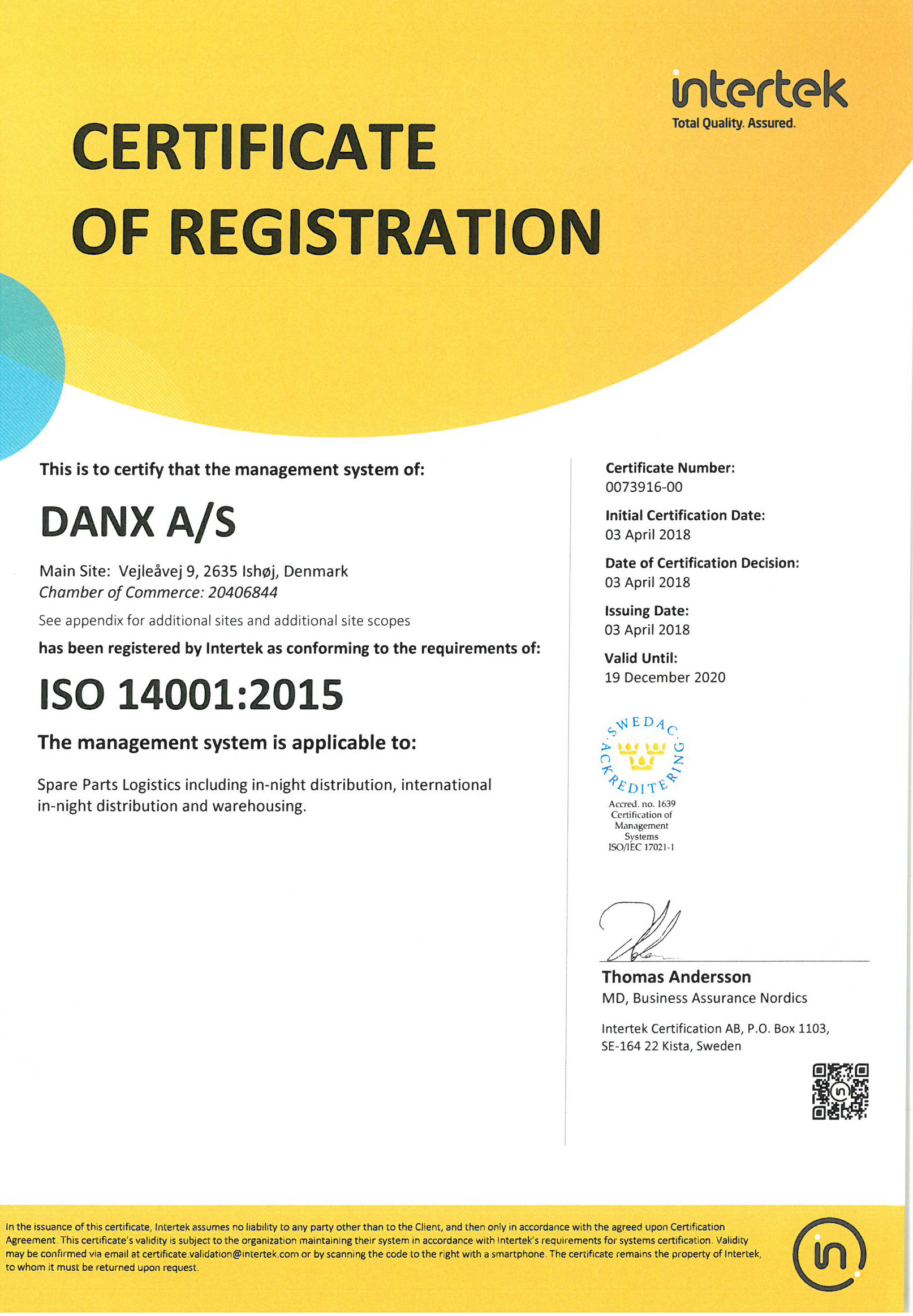 ISO14001,Danx A/s Denmark,Norway,Sweden,Finland